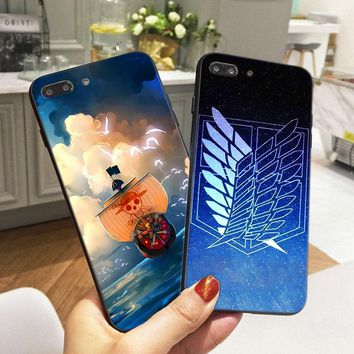 Cool Attack on Titan Anime One Piece Case for iPhone 8  Soft Silicone Phone Cover for iPhone X 6 6S 5 5S XR XS Max SE 7 Plus Fundas AT_90_11