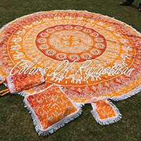 "COR's Orange Ombray Mandala Tapestry Hippie Round Roundie Wall Hanging Beach Towel Throw Yoga Mat Round Tapestry 82"" With Carry Bag and Cushion Cover"