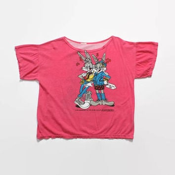 Vintage 80s Loony Toons T-SHIRT / 1980s Bugs Bunny  & Girlfriend Punk Oversized Tee Shirt