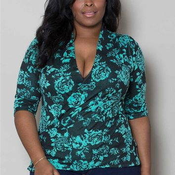 Plus Size Tops | Camille Faux Wrap Top | Swakdesigns.com