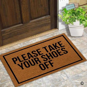 Autumn Fall welcome door mat doormat  Entrance Floor Mat Funny  Please Take Your Shoes Off Designed Non-slip  18 by 30 Inch AT_76_7