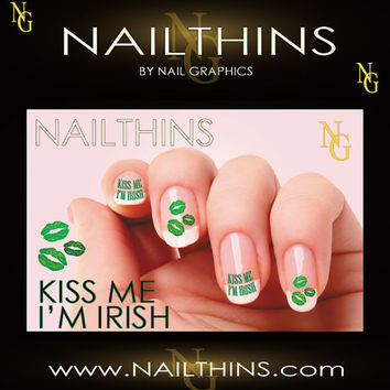KISS ME I'M IRISH St Patrick Day Nail Art  nail by NailGraphics