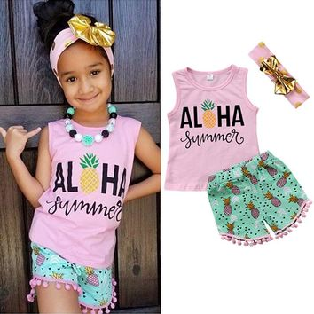 Kids Baby Girl Toddler Summer Top T-shirt Vest+ Pants Shorts Clothes Outfits Set