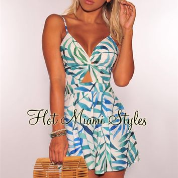 White Blue Green Palm Print Knotted Tie Up Babydoll Romper