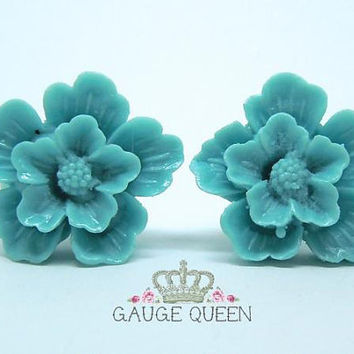 "Blue Flower Blossom Plugs / Gauges. 6g / 4mm, 4g / 5mm, 2g / 6mm, 0g / 8mm, 00g / 10mm, 1/2"" / 12mm by Gauge Queen on Etsy"