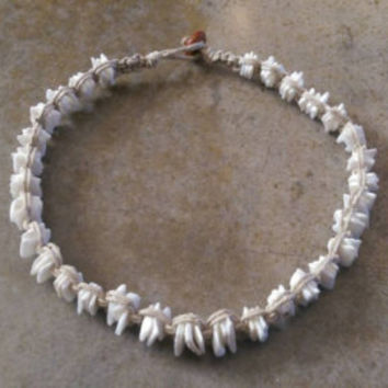Womens Hemp Choker, Puka Shell Necklace, Shell Necklace, Surfer Girl Jewelry, Puka Shell Choker, Gift for Her, Beach Jewelry, Handmade