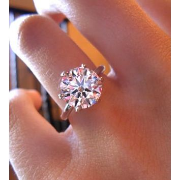 A Perfect 4.8CT Round Cut Solitaire Russian Lab Diamond Engagement Ring