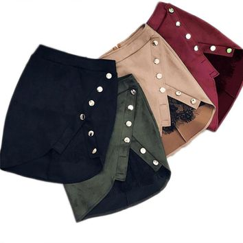 Fashion Women Ladies High Waist Pencil Skirts button lace patchwork sexy Bodycon Suede Leather  Skirt