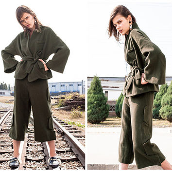womens pants,winter pants,wide leg pants,palazzo pants,wool pants,green pants,womens clothing,womens trousers,grunge pants.--E0841