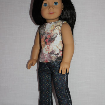 2 piece set. floral graphic print tank top, navy print skinny cords ,18 inch doll clothes, American girl, Maplelea