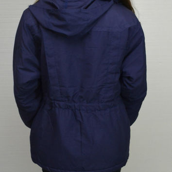 Kaotic 90's Women's Medium Blue Coat Jacket Hoodie Zip up Rain Jacket