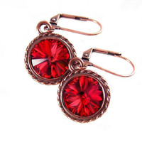 Garnet Red Earrings Swarovski Deep Red Crystal Earrings Antique Copper Earrings Scarlet Red Drop Earrings