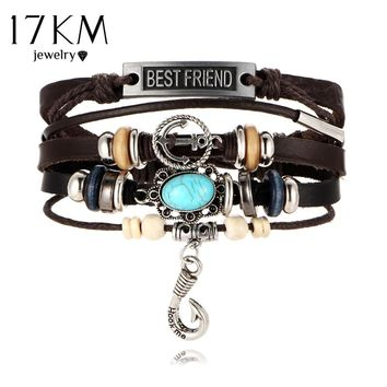 17KM Bijoux Best Friend Anchor Bracelets For Women Men 2017 DIY Wristband Female Hook Stone Leather Bracelet mujer Jewelry Gift