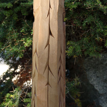 Hand-Carved Native American Totem Pole - woodcarving, Western Red Cedar