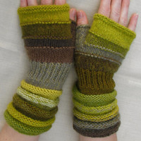 Green Fingerless from olive Summer treasures. The best day gift. Unmatched Hand Knit Striped Arm Warmer with upcycled wool and kid mohair