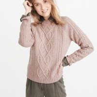 Womens Airspun Mock Neck Cable Sweater | Womens Tops | Abercrombie.com