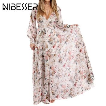 NIBESSER Women Bohemia V-neck long Sleeve Floral Print Ethnic Beach Boho Long Dress 2018 Retro Hippie Vestidos Boho Dress