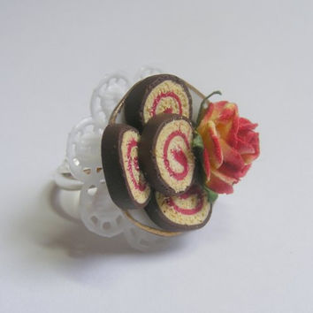 Scented or Unscented Jelly / Jam Roly Poly Miniature Food Ring - Miniature Food Jewelry