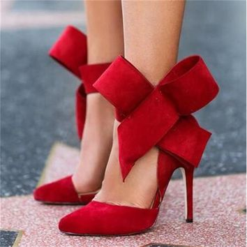 shoes women big bow tie pumps butterfly pointed stiletto shoes woman high heels weddin  number 1