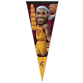 "LEBRON JAMES ""BIG HEAD"" CLEVELAND CAVALIERS ROLL UP PENNANT 12""x30"" WINCRAFT"