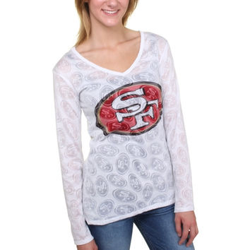 Women's San Francisco 49ers White Sublime Burnout V-Neck Long Sleeve T-Shirt