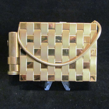 Vintage Compact Purse Gold Basket Weave Purse Cigarette Case Lipstick Case Vintage Purse 1950's Purse