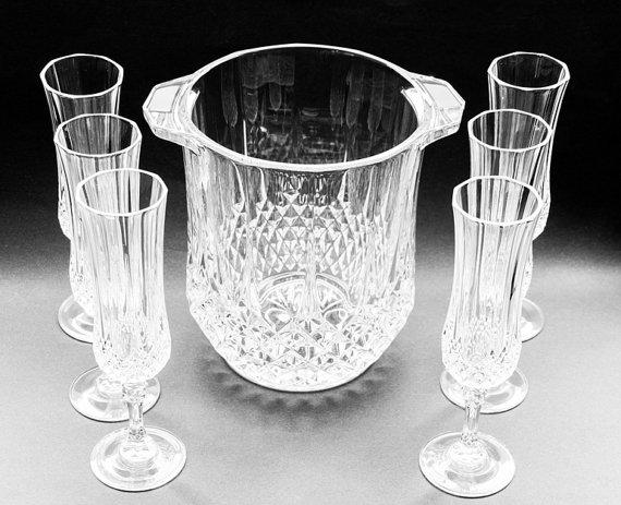 champagne flutes and ice bucket from annetweekes on etsy. Black Bedroom Furniture Sets. Home Design Ideas