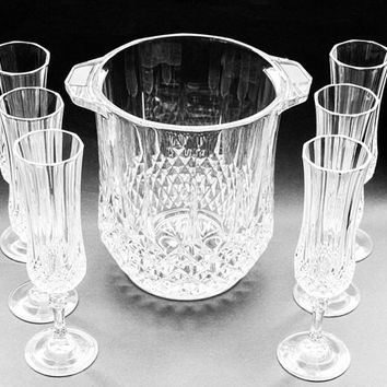 "Champagne Flutes And Ice Bucket. Barware/Drinkware. Cristal d'Arques ""Longchamp"" Champagne Flutes And Ice Bucket."