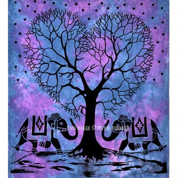 Blue Two Elephants with Love Tree Wall Tapestry on RoyalFurnish.com