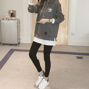 """""""Adidas"""" Women Casual Fashion Letter Logo Print Long Sleeve Hooded Thickened  Sweater"""
