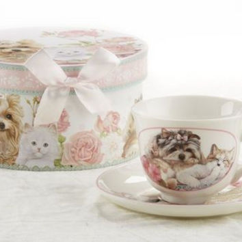 Gift Boxed Tea Cup (Teacup) & Saucer - Puppy/Kitty