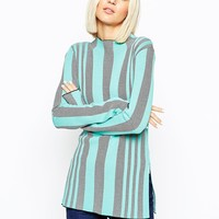 ASOS Tunic in Structured knit Vertical Stripe