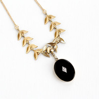 Vintage 12k Yellow Gold Filled Onyx & Diamond Leaf Pendant Necklace - 1930s 1940s Statement Black Gem Lavalier Jewelry with Leaves