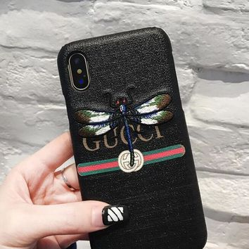 GUCCI Trending Lovers Dragonfly Embroidery iPhone Phone Cover Case For iphone 6 6s 6plus 6s-plus 7 7plus iphone X Black