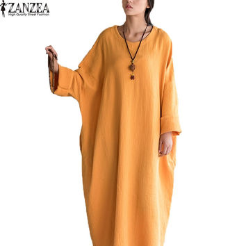 ZANZEA L-5XL Women Ladies Female Oversized Cotton Loose Long Sleeve Maxi Long Dress Baggy Kaftan Robe Vestido Plus Size