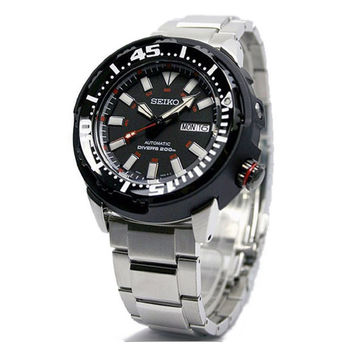 Seiko SRP229 Men's 5 Sports Divers Black Dial Stainless Steel Bracelet Automatic Dive Watch
