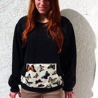 Butterfly Front Pocket Crewneck