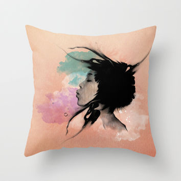 Psychedelic Blow Japanese Girl Throw Pillow by Voodoo