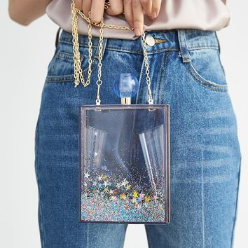 Blue Quicksand Sequins Clear Transparent Acrylic Women Evening Box Clutch Bag Ladies Hard Metal Clutches Messenger Crossbody Bag