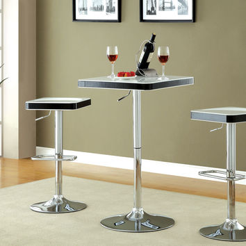 A.M.B. Furniture & Design :: Bar stools and bars :: Bar tables :: Veria modern style White top and black trim rounded square top adjustable height bar table with chrome base