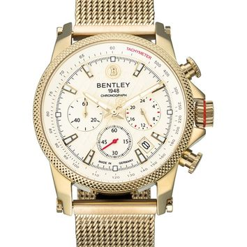 Bentley Racing 43mm Chronograph Tachymeter Watch With White Dial