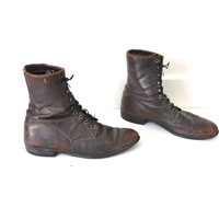 size 10 mens DISTRESSED combat boots 70s 1970s vintage CHESNUT leather retro lace up military BILTRITE work boots
