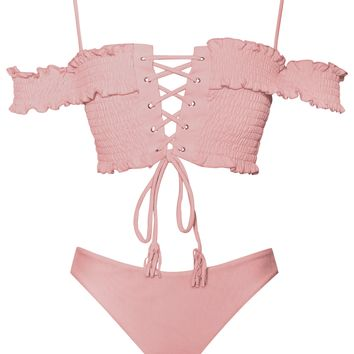 Palawan Off Shoulder Lace Up Pink Two Piece Swimsuit