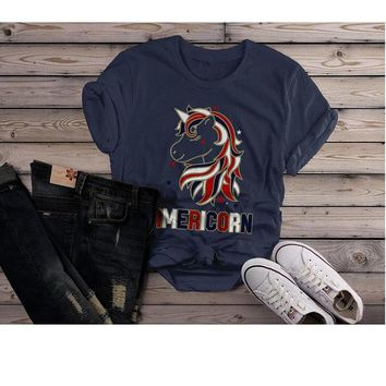 Women's Patriotic Americorn T-Shirt America Unicorn Tee American 4th July Hipster Shirt