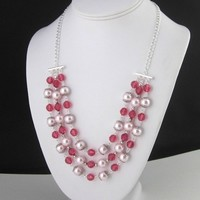 Pink Pearl And Crystal Three Strand Necklace With Chain Attachment