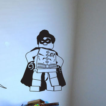 Lego Batman, Lego Robin, Gotham City, wall decal, boys room decor, superhero decal, decal, wall art, wall sticker, by Otrengraving on Etsy