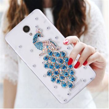 Luxury 3D Peacock Bird bling Crystal diamond Mobile phone Shell Back Cover Skin Hard Case For Xiaomi Redmi Note 2