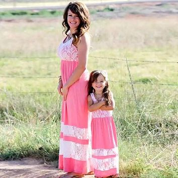 Mom & Me Beautiful Coral & Lace Girls Spring & Summer Easter Maxi Dress