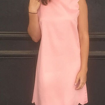 Just Peachy Scallop Dress