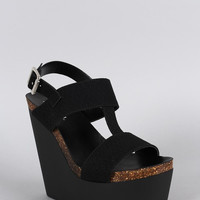 Soda Leatherette Snake Embossed Slingback Platform Wedge Color: Black Snake, Size: 9